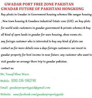 GWADAR PORT FREE ZONE PAKISTAN SELL/ PURCHASE PLOTS